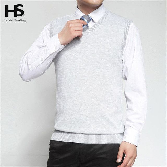 New Autumn Winter Cashmere Classic Vest Sweater Men Sleeveless Sweaters Solid Color V-Neck Wool Pullovers Men Jersey Hombre
