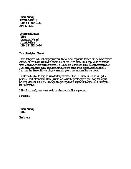 Letter announcing new product to retailers
