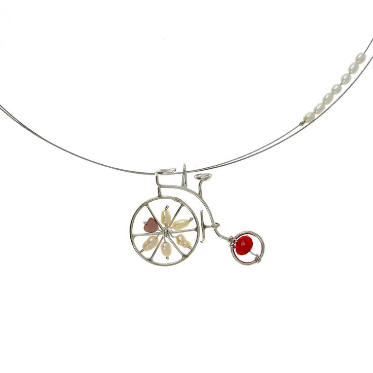 Emmanuela.gr - Handmade Jewelry - Silver Bicycle Pendant with Pearls.