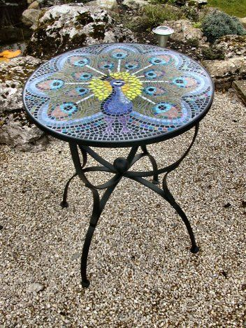 peacock mosaic table