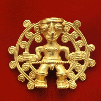 Pre-Columbian Art / Gold Pendant of a Shaman - FJ.6047  Origin: Costa Rican/Panamanian Border Area  Circa: 500 AD to 1550 AD