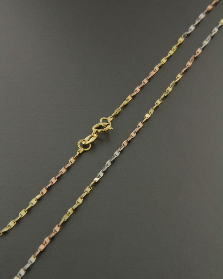 Αλυσίδα λαιμού χρυσό, ροζ χρυσό & λευκόχρυσο Κ18 45cm | eleftheriouonline.gr