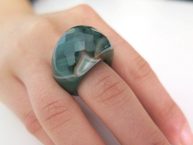 Agate gemstone ring Chunky ring Ecofriendly ring Green ring Colorful ring Big Bold Ring Earthy ring Faceted ring Christmas gift idea (35.00 USD) by Viyoli