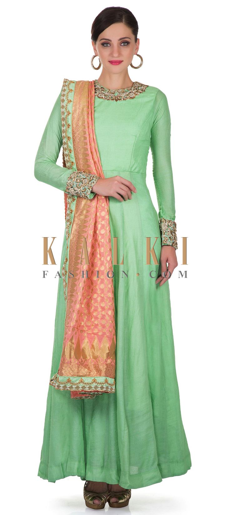 Sea Green Cotton Silk Anarkali Top Featuring Zardosi Work and Peach Brocade Silk Dupatta only on Kalki