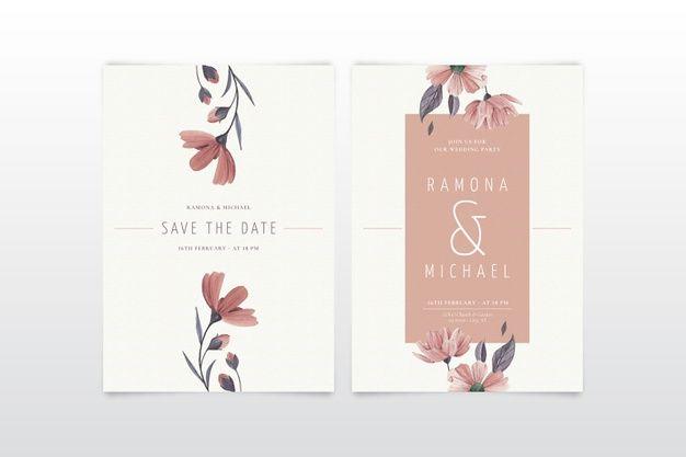 Scarica Gratis Modello Di Invito Matrimonio Floreale Minimalista Elegante In 2020 Floral Wedding Invitations Floral Wedding Invitation Card Wedding Invitation Templates