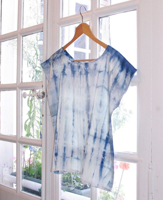 Silk Shibori blouse, handmade and plant dyed: blue-indigo, S/M size on Etsy, £120.23