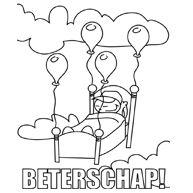 Iemand die ziek is ligt in een bed met balonnen, kijk nu op de website voor de volledige kleurplaat