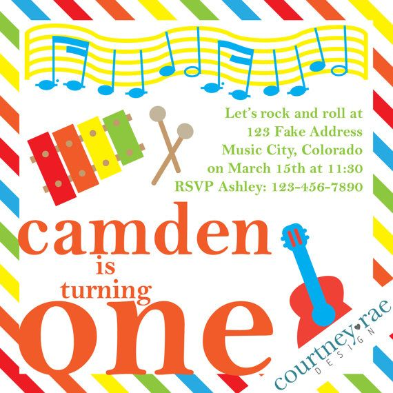 Music Birthday Party Invitation by CourtneyRaeDesign on Etsy