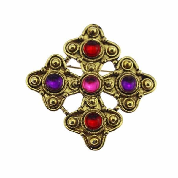 Gold Maltese Cross Brooch with Pink and Purple Cabochons