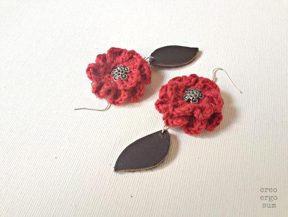 Red crochet flowers earrings dangle crochet by CreoErgoSumHandmade