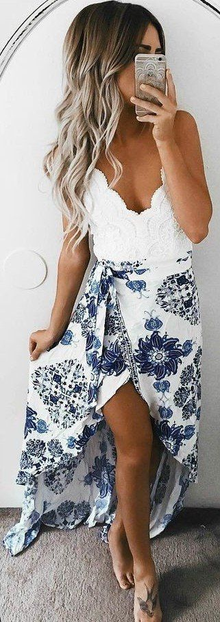 #spring #outfits White Lace Top + Floral Split Skirt