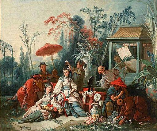 """Le jardin chinois, 1742, François Boucher, Besançon, Musée des Beaux-Arts- L'engouement de Boucher pour la """"chinoiserie"""" vient surtout de ce que ces sujets permettent au peintre tout fantaisie dans le choix d'étoffes exotiques, d'accessoires bizarres, de coloris arbitraires. Le """"Jardin chinois"""" fait partie d'une série de 9 toiles destinées à la manufacture de Beauvais en vue de la réalisation de tapisseries en """"basse lisse où se mêlent la laine et la soie"""" pour la marquise de Pompadour."""