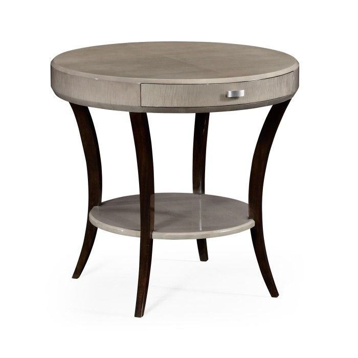 jonathan charles art deco round side table with drawer and stainless steel handle - Side Tables For Living Room