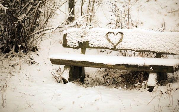 Обои сердце, снег, настроение, скамья картинки на рабочий стол, раздел настроения - скачать