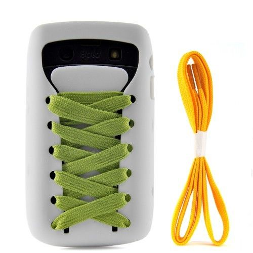 Sporty Shoes Lace Silicone Case for BlackBerry Bold 9700 9020 Onyx (White)