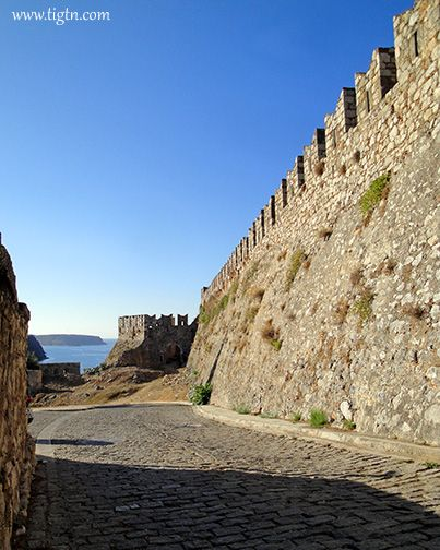 The cobble-stone road leading to the top of #Akronafplia Hill next to the walls of the Castle that caps the hill on the tip of the peninsula. #Nafplio - #Peloponnese - #Greece