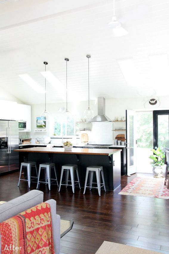 Before and after kitchen - love the dark cabinets on the bottom and light on top. Also love the rug accents