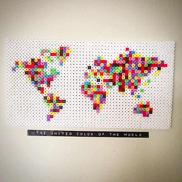 United Colors of the World - Map hama beads by perletid