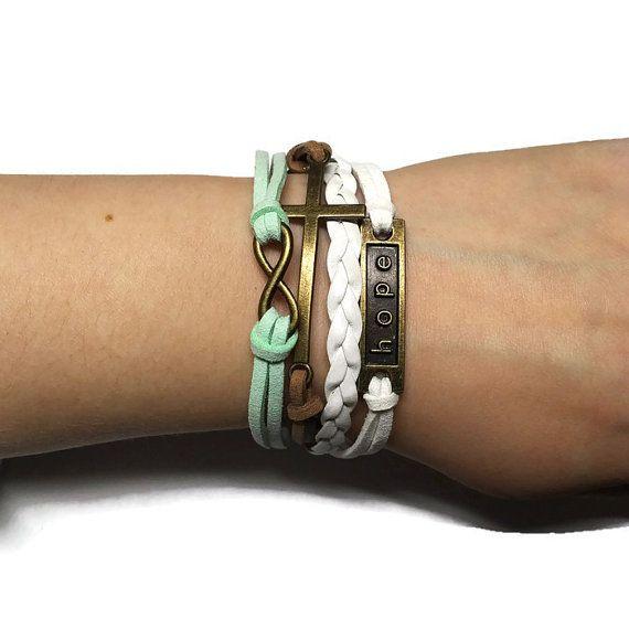 Hope Charm Bracelet Infinity Charm Bracelet by BriAndAshStore