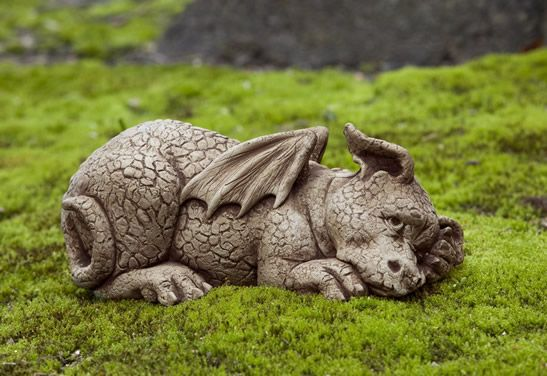 Puzzle cast stone dragon statue made by Campania International