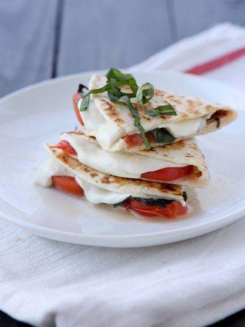 Margherita Pizza Quesadilla | thekitchenpaper.com I replace the tomato with pineapple, amaaaazing