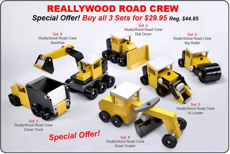 Buy all three ReallyWood Road Crew toy plan sets for One Low Price!
