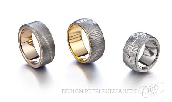 Damascus-steel rings with 750‰ pink, yellow and white gold.