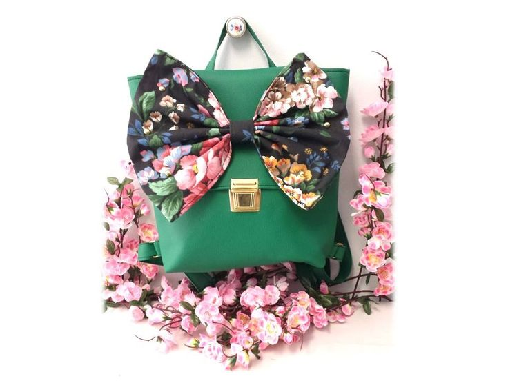 Code name:Captain Tulipa Backpack & Messenger Bag/ Color:Green Faux Leather/Black Floral Votton Fabric Bow. Hand Made by Elissavet Maurogenni https://www.facebook.com/playroomshowroom?fref=photo