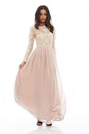 Nude Round Neck Long Sleeve Lace Maxi Dress