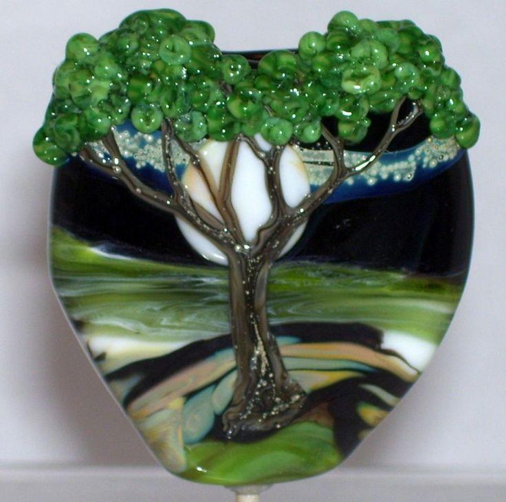 wstgathe river flowtree moon stars handmade lampwork focal glass bead sra by