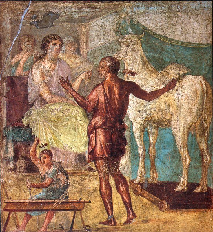 Daedalus, Pasiphae and wooden cow. Roman fresco from Casa dei Vettii in Pompeii.