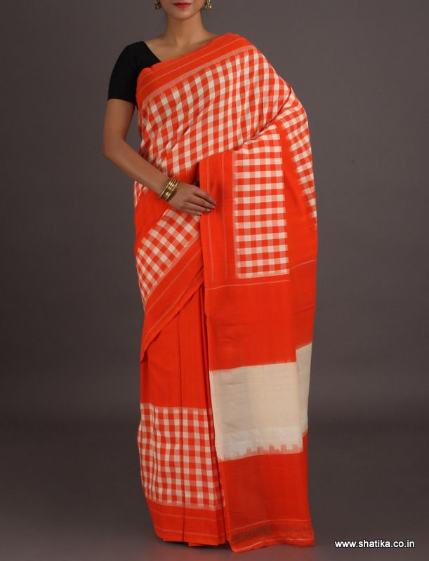 Kajol Half Plain Half Checkered Ikat #PochampallycottonSaree