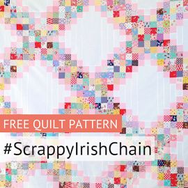 "MessyJesse: Scrappy Irish Chain Quilt Pattern...Finished block size: 18.5"" Finished quilt size: 90"" square"