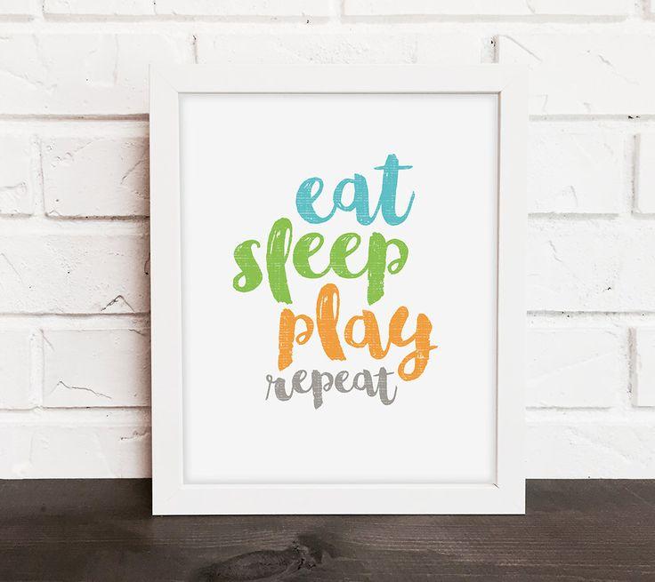 nursery quote print, eat sleep play nursery print, blue green and orange nursery decor, colorful playroom art, baby gift, baby shower gift by DevonDesignCo on Etsy https://www.etsy.com/uk/listing/252435806/nursery-quote-print-eat-sleep-play