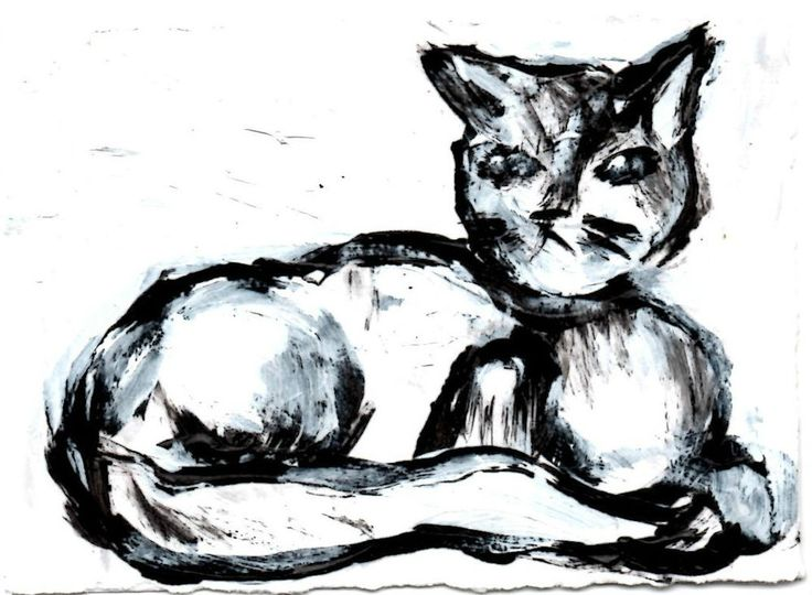 """CAT, black and white, acrylic,  original art  ,ACEO  jack larson 3.5""""x2.5"""" #Abstract"""