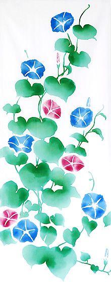 Japanese washcloth, Tenugui 【ヤギセイ】注染手ぬぐい「朝顔(あさがお)」◎