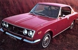 This is what I drove when I was 16 years old.  A 1971 Toyota Corona Mark II, but ours was a 4door, but this color.