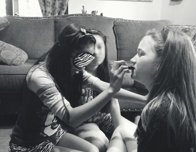 They said: Fun sleep over [slumber party] game, blind make overs I say: Its all fun and games til someone gets stabbed in the eye with mascara. OH THE HORROR!