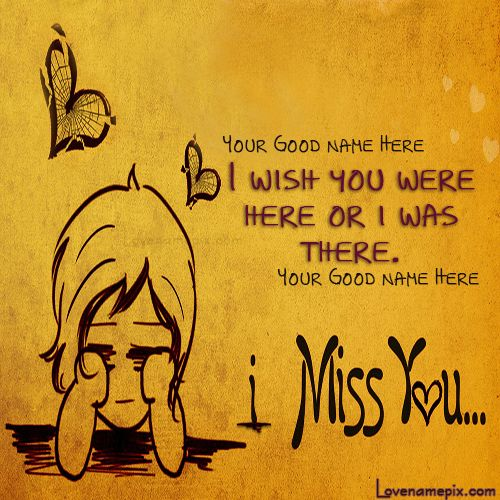 Write couple names on lovely Cute Miss U love pictures and pretty Cute Miss U love cards in quick time.