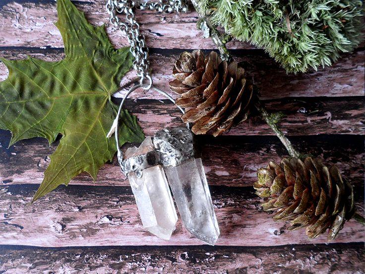 Kryształ górski, tin, copper, tiffany technique, gemstone