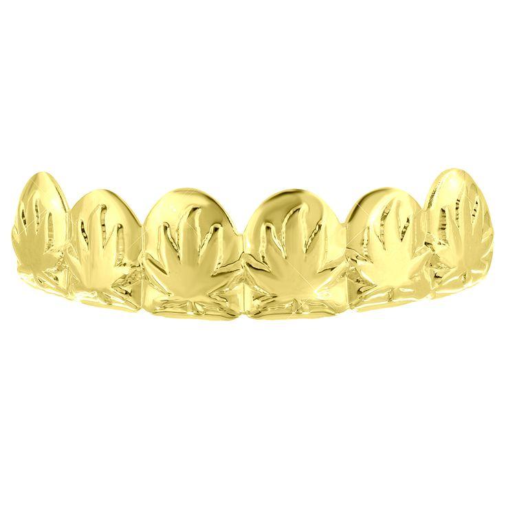 Designer Top Teeth Custom Grillz 14k Yellow Gold Finish