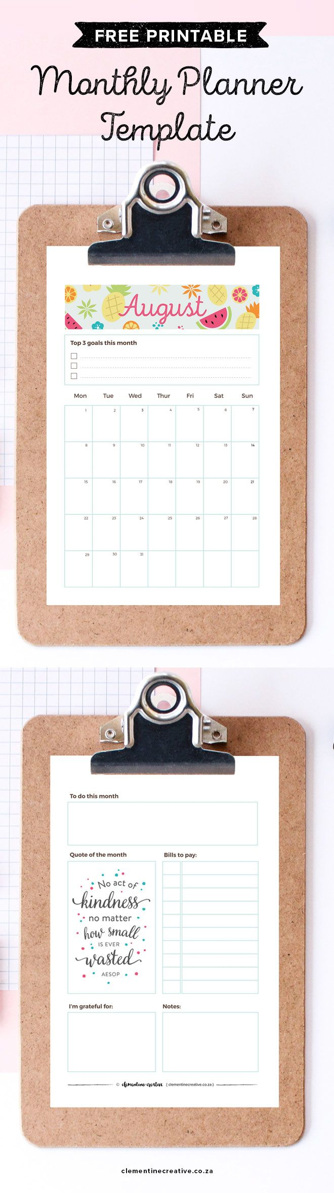 Free printable August 2016 calendar and monthly planner in A4, A5, pocket and personal size.