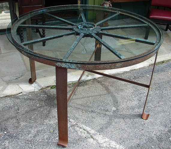 Reclaimed Large Industrial Vintage Handforged Iron Wagon Wheel Dining  Kitchen Table W Glass. $425.00,