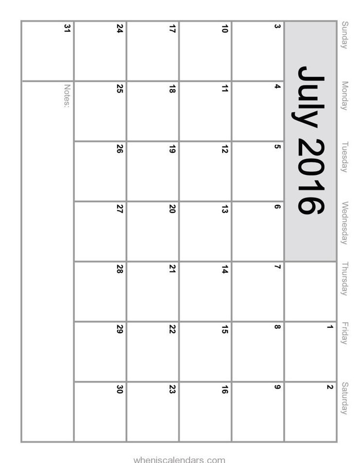 July 2016 Calendar In Word