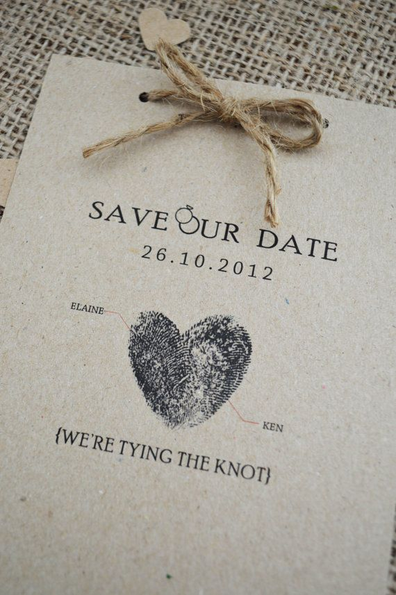 Beautiful rustic Save the Date cards with twine. Printed on kraft fleck paper with matching kraft fleck envelope. These cards are a perfect match