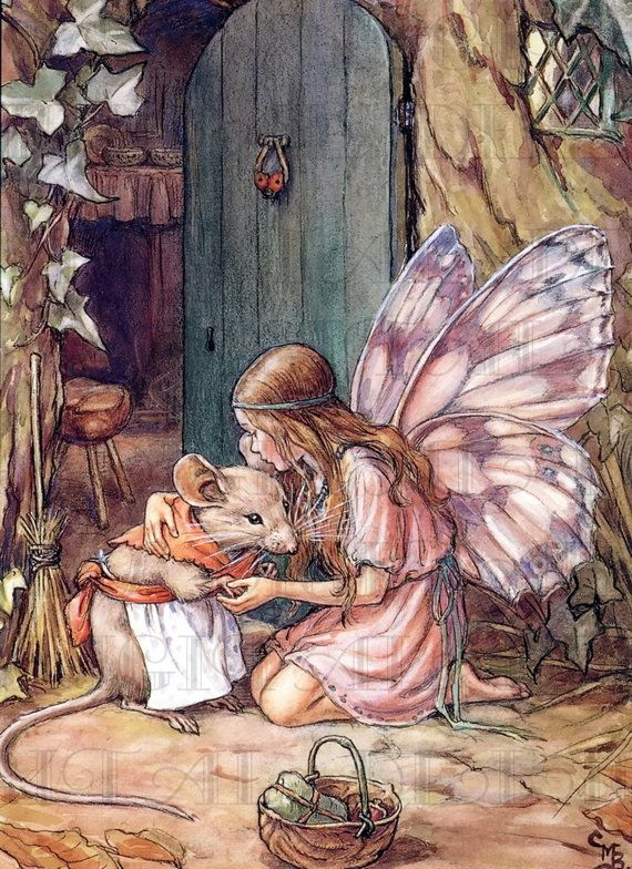 Sweet FAIRY With Mama MOUSE! Vintage Fairy Illustration. Digital Fairy Download. Digital Fairy Printable Image. Cecily Mary Barker