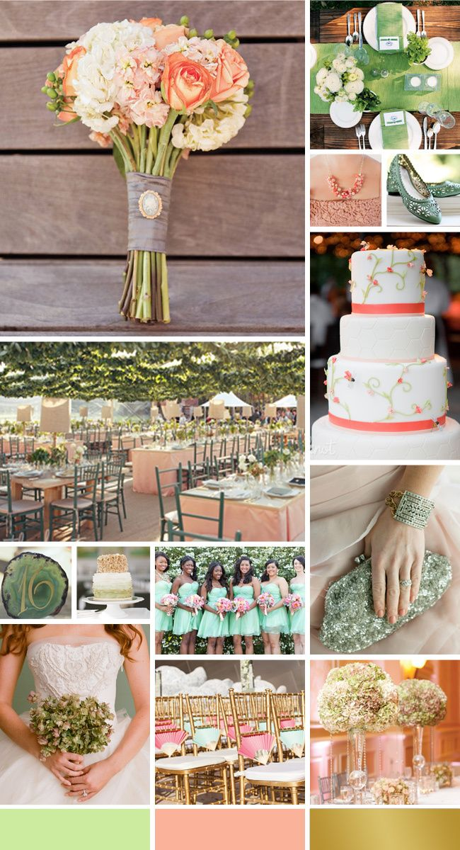 mint, peach, and gold