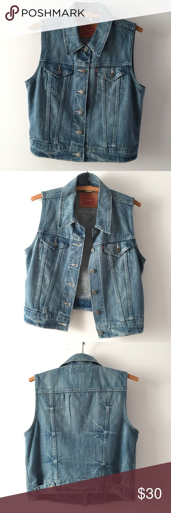 Levi's classic sleeveless blue denim jean jacket Levi's classic blue denim sleeveless jean jacket. Excellent condition, size M Levi's Jackets & Coats Jean Jackets