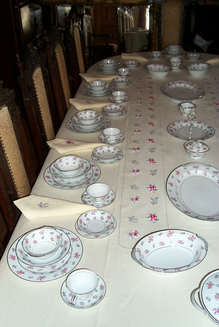 Tablecloth and napkins are brand new, never used.  China is all used. Some china pieces have small chips and show some wear.  Most of china pieces are in perfect condition.