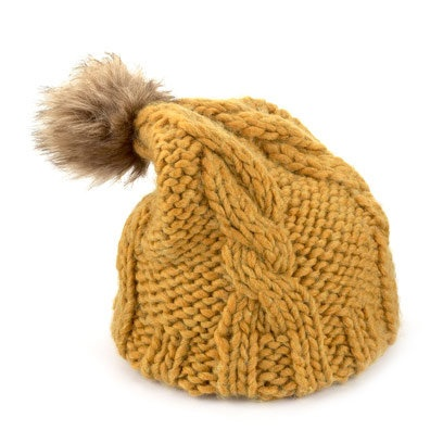 Mustard yellow bobble hat with faux fur pom pom